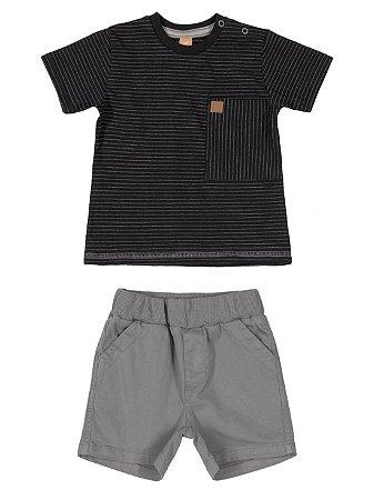 Conjunto Up Baby Camiseta Curta Malha Bermuda Sarja Preto