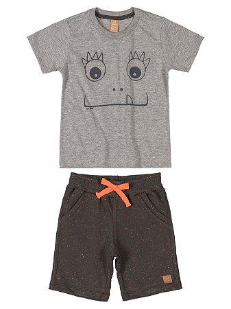 Conjunto Infantil Up Baby Camiseta Curta Bermuda Malha Cinza