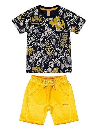Conjunto Camiseta Malha Bermuda Moletinho Hip Hop Preta