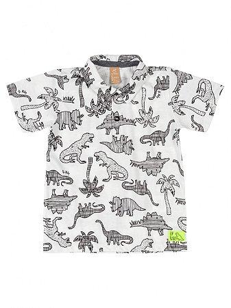 Camisa Infantil Up Baby Polo Malha Dinossauros Off White