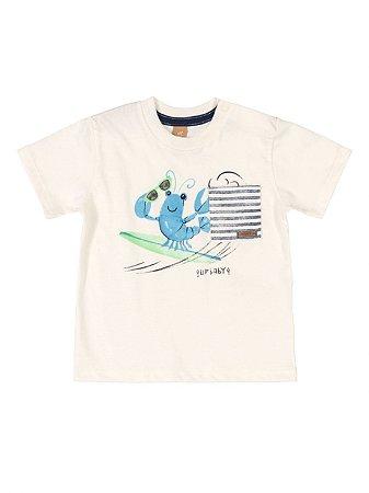 Camiseta para Bebê Up Baby Curta Malha Lagosta Natural