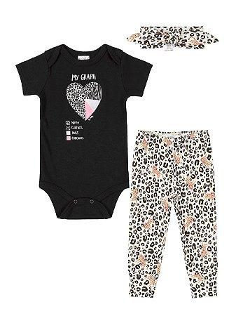 Kit Up Baby Body Curta Faixa Calça Culote Oncinha Preto
