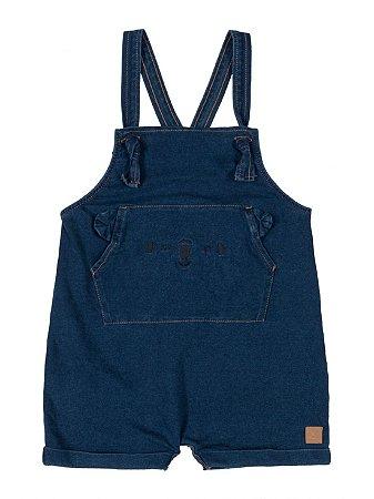 Jardineira para Bebê Up Baby em Malha Indigo Azul