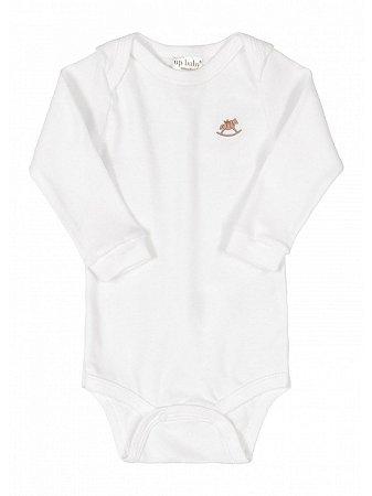 Body para Bebê Up Baby Manga Longa Suedine Branco