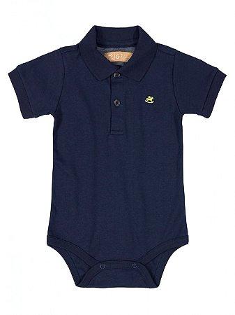 Body Polo para Bebê Up Baby Manga Curta Suedine Marinho