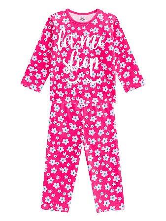 Pijama Brandili Let me Sleep Malha Longo Infantil Feminino Pink