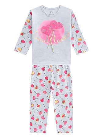 Pijama Brandili Sweet Love Longo Infantil Feminino Cinza