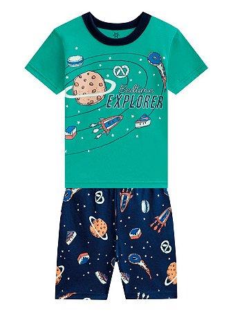 Pijama Brandili Space Malha Curto Infantil Masculino