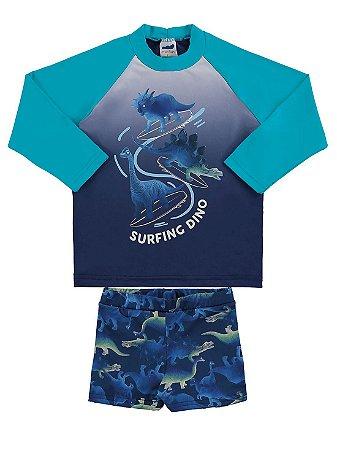Conjunto Praia Infantil Marlan Camiseta Longa e Sunga Dino