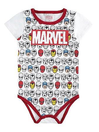 Body para Bebê Marlan Curta Marvel Avengers Branco