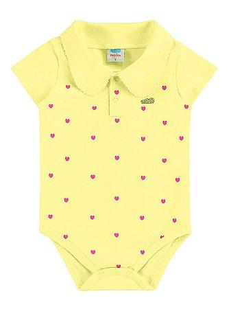 Body para Bebê Marlan Curta Malha Gola Crochê Amarelo