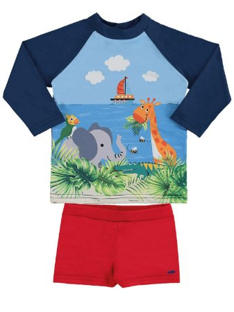 Conjunto bebê Marlan UV Surfista Praia Safari Camiseta Sunga