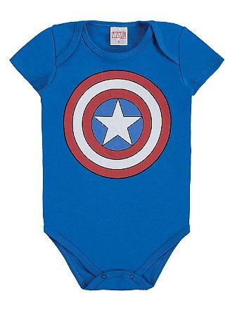 Body para Bebê Marlan Curta Malha Capitão América Marvel
