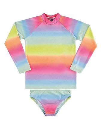 Conjunto Marlan Praia UV Camiseta Longa Calcinha Bailarina