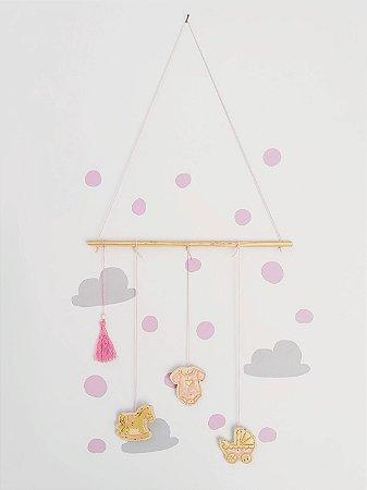 Móbile Decorativo Ceramekids para quarto de Bebê Rosa