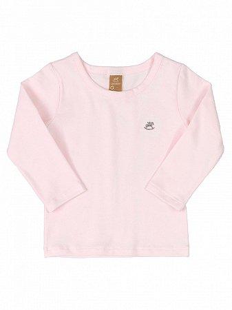 Camiseta Up Baby Longa Básica Algodão Rosa