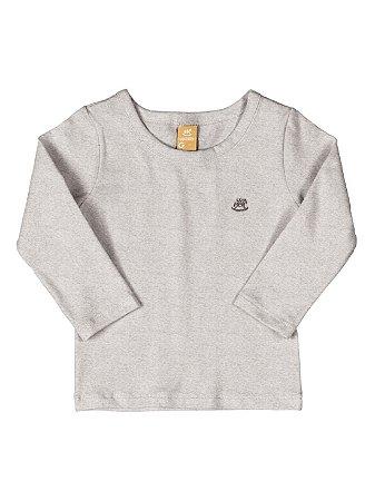 Camiseta Up Baby Longa Básica Menino Algodão Cinza