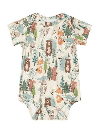 Body para bebê Up Baby Curta em Suedine Floresta Natural