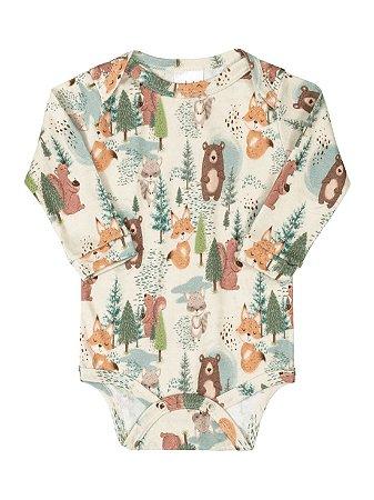 Body para bebê Up Baby Longa em Suedine Floresta Natural