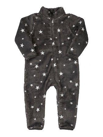 Macacão para Bebê Up Baby Longa em Pelo Soft Estrelas Cinza