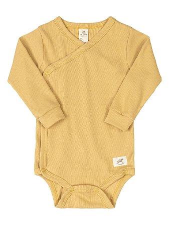 Body Kymono para Bebê Up Baby Longa Canelado Nature Mostarda