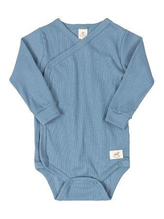 Body Kymono para Bebê Up Baby Longa Canelado Nature Azul