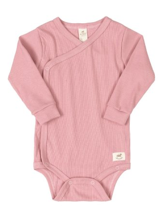 Body Kymono para Bebê Up Baby Longa Canelado Nature Rosa