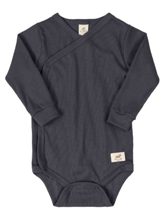 Body Kymono para Bebê Up Baby Longa Canelado Nature Chumbo
