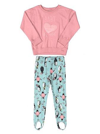 Conjunto Infantil Up Baby Blusão Moletom Calça Flanela Rosa