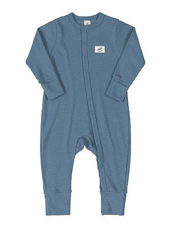 Macacão Bebê Up Baby Longa em Ribana Canelada Nature Azul