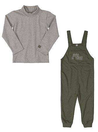 Conjunto Infantil Up Baby Jardineria e Camiseta Longa Verde