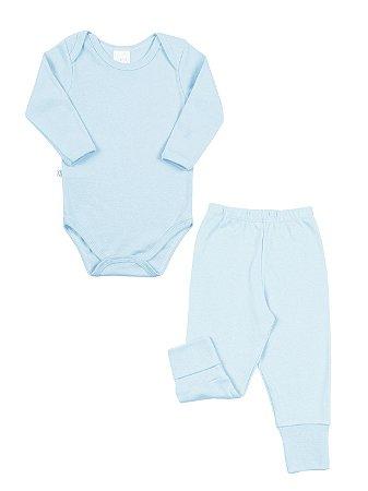 Body e Calça para Prematuro Ami de Lit Longo Malha Azul