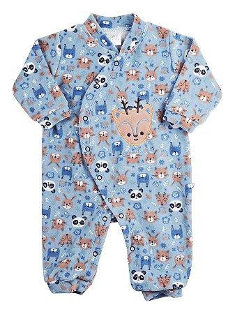 Macacão Bebê Ami de Lit Longo Plush sem Pezinho Alce Azul