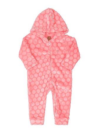 Macacão Bebê Up Baby Longa em Pêlo com Capuz Rosa Fluor