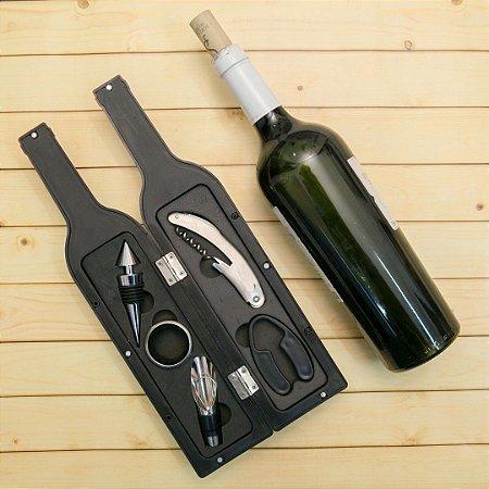 Kit vinho formato garrafa
