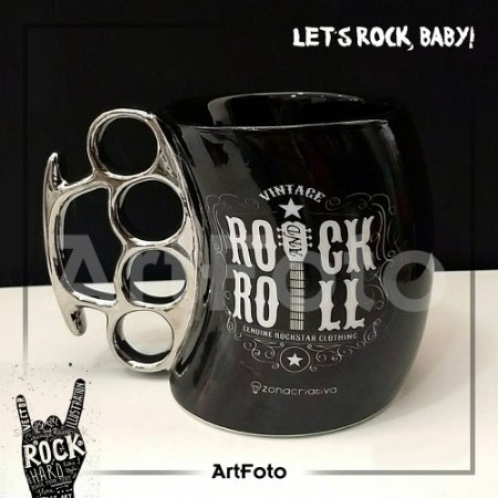 Caneca Soco Ingles Rock and Roll 350ml