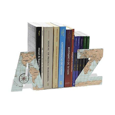 Suporte para livros de aço Mapa Mundi A Z