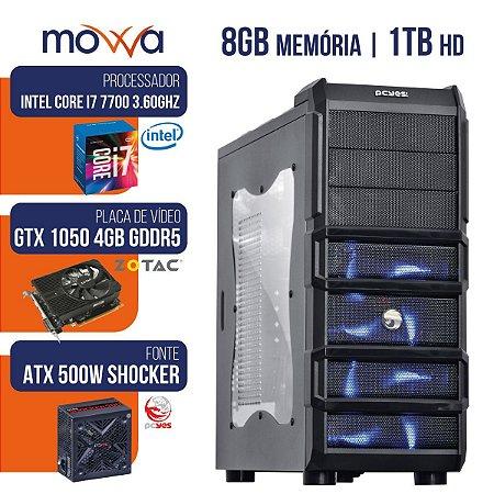 Computador Gamer Mvx7 Intel I7 7700 3.6ghz Mem 8gb Hd 1tb Hdmi Vga Gtx 1050 4gb Fonte 500w Linux