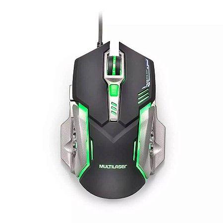 Mouse Gamer DPI 2400 Preto/Grafite Multilaser - MO269