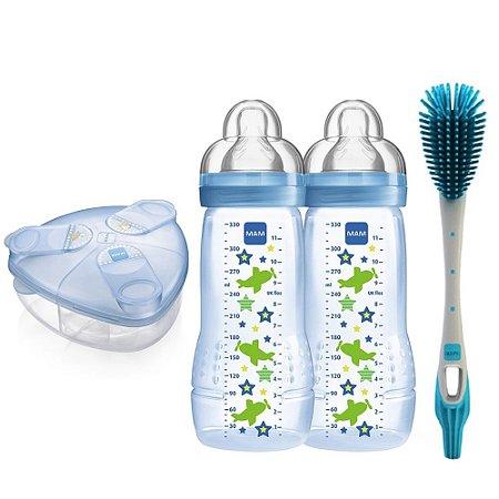 Kit 2 Mamadeira Fashion, Dosador e Escova Azul Mam Baby