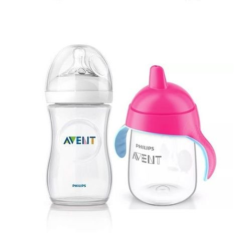 Kit Mamadeira Pétala 330ml e Copo Pinguim Rosa 340ml Philips AVENT