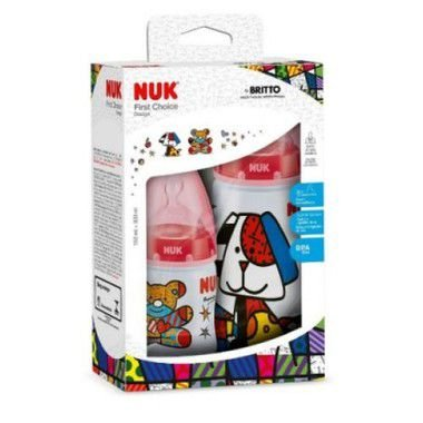 Kit com 2 Mamadeiras First Choice Romero Britto Girl NUK