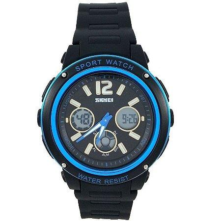Relógio Masculino Skmei Anadigi 1051 Preto e Azul