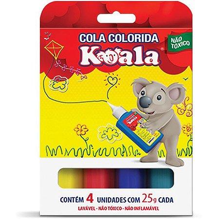 Cola escolar colorida koala c/ 4 cores 25g. - Delta