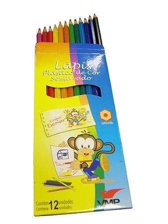 Lápis de cor Plástico (sextavado) Linha Escolar C/12cores - V.M.P.