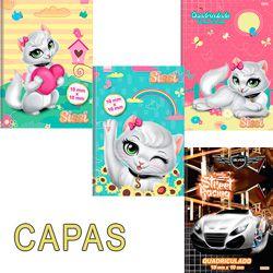 Caderno quadriculado (1/4) Sissi 1x1cm 48f Brochura Capa Dura - Sao Domingos