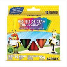 Lápis de cera (gizão) 12cores Big Giz - Triangular - Acrilex