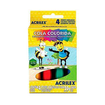 Cola escolar (colorida) Estojo C/04 Cores 23g. - Acrilex