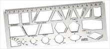 Régua plástica Geometrica Escolar 22cm - Waleu