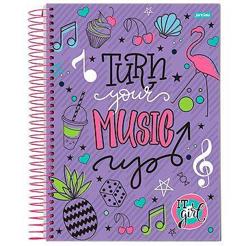 Caderno 12 matérias espiral univ. CD (turnyourmusic) 240 Folhas - Jandaia